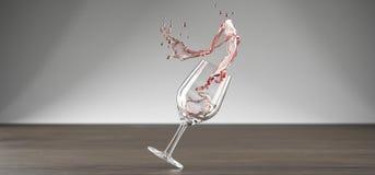 Realistisches Wein-Glas mit Rose Wine Splash Stockfotos