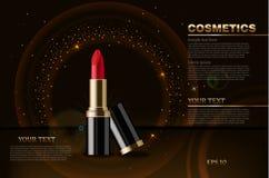 Realistisk åtlöje för röd läppstiftvektor upp Förpacka för skönhetsmedel som är falskt upp Mörka mousserande illustrationer för b vektor illustrationer