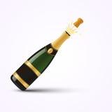 Realistisk öppen champagneflaska med guld- folie och färgstänk Fotografering för Bildbyråer