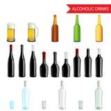 Realistisk alkoholdryck- och drycksymbolsuppsättning Fotografering för Bildbyråer
