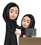 Realistisk arabisk lärare Character för kvinna 3D Royaltyfri Fotografi