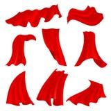 Realistisk bölja röd satängtorkduk som isoleras på genomskinlig bakgrund När du fladdrar tygscharlakansrött hänger upp gardiner v Fotografering för Bildbyråer