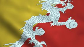Realistisk Bhutan flagga vektor illustrationer