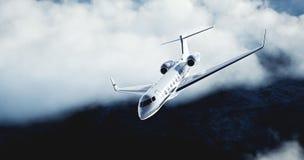 Realistisk bild av det privata flygplanet för vit lyxig generisk design som flyger över jorden Abstrakt vit fördunklar på Royaltyfri Foto