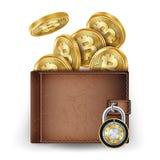 Realistisk Bitcoin plånbokvektor Låst med hänglåset pengar Top beskådar Säkert begrepp för finans isolerat framförande för begrep stock illustrationer