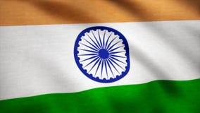 Realistisk bomullsflagga av Indien som en bakgrund Indien flagga som vinkar i vinden Bakgrund med grov textiltextur royaltyfri illustrationer