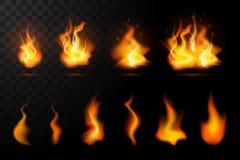 Realistisk brandflammaupps?ttning royaltyfri illustrationer