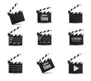 Realistisk clapper bio för brädebild för bakgrund 3d white Film Tid Arkivfoton