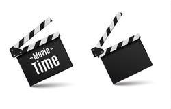 Realistisk clapper bio för brädebild för bakgrund 3d white Film Tid Arkivfoto