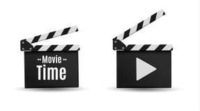 Realistisk clapper bio för brädebild för bakgrund 3d white Film Tid Royaltyfri Foto