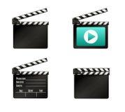 Realistisk clapper bio för brädebild för bakgrund 3d white Film Tid också vektor för coreldrawillustration Royaltyfria Bilder