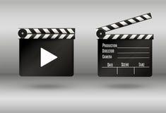 Realistisk clapper bio för brädebild för bakgrund 3d white Film Tid också vektor för coreldrawillustration Royaltyfri Fotografi