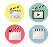 Realistisk clapper bio för brädebild för bakgrund 3d white Film Tid också vektor för coreldrawillustration Arkivfoton