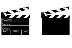Realistisk clapper bio för brädebild för bakgrund 3d white Film Tid också vektor för coreldrawillustration Arkivfoto