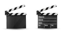 Realistisk clapper På en vit bakgrund Film Tid också vektor för coreldrawillustration Royaltyfri Bild