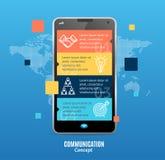 Realistisk 3d budbärare Communication Concept Smartphone som pratar med pratstundBot vektor Arkivfoto