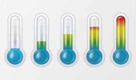 Realistisk 3d glass meteorologi för vektor, closeup för uppsättning för symbol för tecken för vädertermometerskala som isoleras p vektor illustrationer