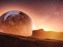 Realistisk 3D jord Lyustration Artighet av NASA Fantastisk stjärna Arkivfoto