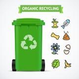Realistisk 3d specificerade begrepp för återvinning för avfallfack organiskt vektor vektor illustrationer