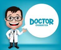 Realistisk 3D ung vänlig yrkesmässig doktor Medical Character royaltyfri illustrationer