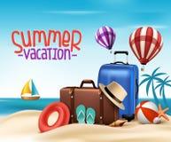 realistisk design för affisch för semester för sommar 3D med påsar Royaltyfri Bild