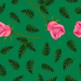 Realistisk detaljerad 3d blomma Rose Seamless Pattern Background vektor vektor illustrationer