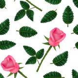 Realistisk detaljerad 3d blomma Rose Seamless Pattern Background vektor royaltyfri illustrationer