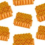 Realistisk detaljerad 3d Honey Combs Seamless Pattern Background vektor Arkivbild