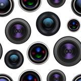 Realistisk detaljerad för Lens för kamera 3d bakgrund sömlös modell vektor Arkivbild