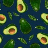 Realistisk detaljerad hel avokado 3d och sömlös modellbakgrund för skiva vektor stock illustrationer