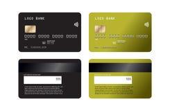 Realistisk detaljerad kreditkortuppsättning med färgrik abstrakt designbakgrund Mockupn för krediteringsdebiteringkort stock illustrationer