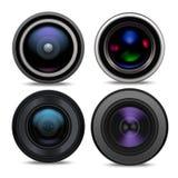 Realistisk detaljerad Lens för kamera 3d uppsättning vektor stock illustrationer
