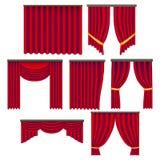 Realistisk detaljerad röd uppsättning för gardiner för fönster 3d vektor vektor illustrationer