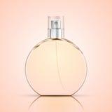 Realistisk doftflaska på ljus bakgrund, Glass liten medicinflaska Royaltyfri Fotografi