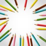 Realistisk färgrik blyertspennaram för vektor med tomt utrymme Royaltyfria Bilder