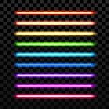 Realistisk färgrik laser-vektorstråle på genomskinlig mörk bakgrund Futuristiskt svärdvapen Royaltyfri Foto