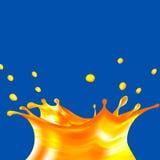 Realistisk färgstänk för orange fruktsaft illustration 3d vektor Mangokrona med droppar Gul flytande Mat och drink Royaltyfri Bild