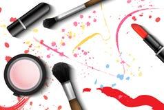 Realistisk för vektoruppsättning för makeup 3d skönhetsmedel Eyelinerborste, läppstift och pulverannonsillustration Annonseringma stock illustrationer
