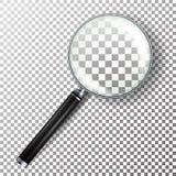 Realistisk förstoringsglasvektor Isolerat på rutig bakgrundsillustration Förstoringsglasobjekt för zoom och hjälpmedel med L vektor illustrationer