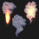 Realistisk fastställd vektor för rök och för brand på genomskinlig bakgrund Arkivfoto
