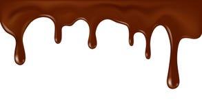 Realistisk flödande choklad för vektor som isoleras på vit bakgrund Royaltyfri Bild