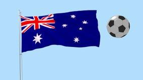 Realistisk fladdraflagga av Australien och fotbollbollen som omkring flyger på en genomskinlig bakgrund, 3d tolkning, PNG-format