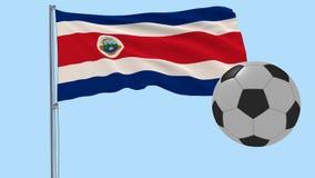 Realistisk fladdraflagga av Costa Rica och fotbollbollen som omkring flyger på en genomskinlig bakgrund, 3d tolkning, PNG-format