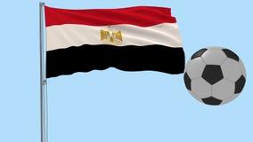 Realistisk fladdraflagga av Egypten och fotbollbollen som omkring flyger på en genomskinlig bakgrund, 3d tolkning, PNG-format med