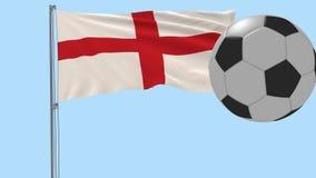 Realistisk fladdraflagga av England och fotbollbollen som omkring flyger på en genomskinlig bakgrund, 3d tolkning, PNG-format med