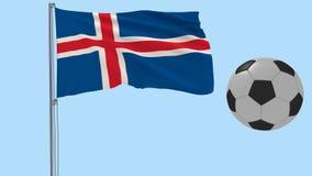 Realistisk fladdraflagga av Island och fotbollbollen som omkring flyger på en genomskinlig bakgrund, 3d tolkning, PNG-format med