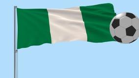 Realistisk fladdraflagga av Nigeria och fotbollbollen som omkring flyger på en genomskinlig bakgrund, 3d tolkning, PNG-format med