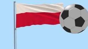 Realistisk fladdraflagga av Polen och fotbollbollen som omkring flyger på en genomskinlig bakgrund, 3d tolkning, PNG-format med a