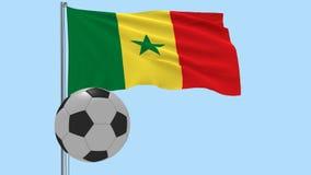 Realistisk fladdraflagga av Senegal och fotbollbollen som omkring flyger på en genomskinlig bakgrund, 3d tolkning, PNG-format med