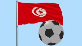 Realistisk fladdraflagga av Tunisien och fotbollbollen som omkring flyger på en genomskinlig bakgrund, 3d tolkning, PNG-format me
